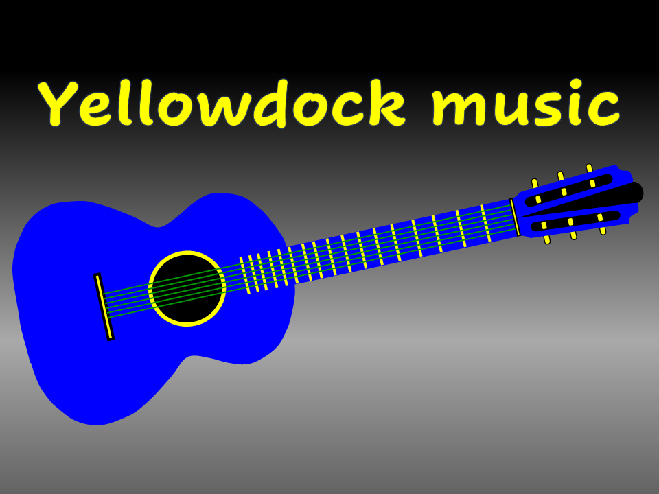 Yellowdock music electric blue guitar with yellow frets, tuning keys, and green strings
